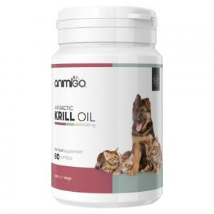 Olio di Krill - Integratore in Capsule Gelatinose agli Omega 3 per il Benessere di Cani e Gatti - Animigo